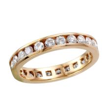 Stunning Classic 1.25ctw Brilliant Diamond 14KT Yellow Gold Channel Eternity Wedding Band - #1682