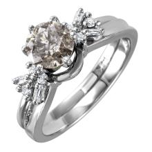 Gorgeous Vintage Style Inspired 1.14ctw Diamond 14KT White Gold Engagement Ring and Guard Wedding Set - #1565