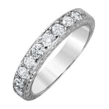 Alluring Brilliant Diamond 14KT White Gold Engraved Wedding Band - #1573
