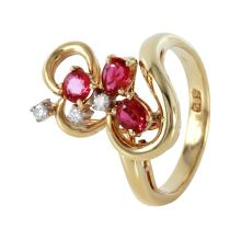Titania Ruby and Diamond 14KT Yellow Gold Ribbon Ring - #507A