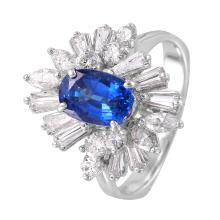 NEW Spectacular Antique Style Inspired 2.76ctw Sapphire and Diamond 14KT White Gold Waterfall Cocktail Ring - #986