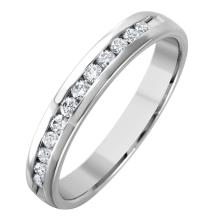 Timeless Classic Channel Diamond 14KT White Gold Wedding Band - #1561