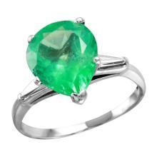 18KT White Gold 4.89ctw Emerald & Diamond Ring - #1867