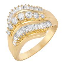Triple-Row Waterfall 1.02ctw Diamond 18KT Yellow Gold Ring - #427