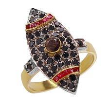 Exquisite Vintage 1.45ctw Fancy Black and Chocolate Diamond Ruby 18KT Yellow Gold Ring - #426B