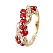 Stunning Scroll Design 1.83ctw Ruby and Diamond 14KT Yellow Gold Ring - #1562