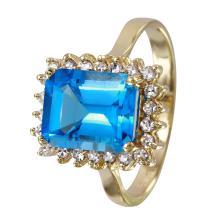 Vivacious 3.59ctw Sky Blue Topaz and Diamond 14KT Yellow Gold Cocktail Ring - #1667