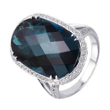 Blue Royalty 14.18ctw Indicolite Tourmaline and Diamond 18KT White Gold Custom Ring - #952