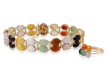 Intriguing Matching 14KT Yellow Gold 13.84ctw Multi-Color Jade Bracelet and Ring Set - #186