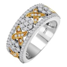 Hugs and Kisses Brilliant Diamond 14KT Two Tone Gold Band - #444
