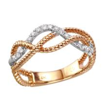NEW Statement in Style Glittering Diamond 14KT Two Tone Gold Twisted Rope Ring - #2146