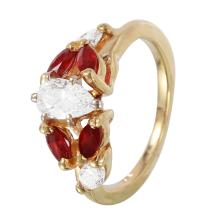 Half and Half 1.05ctw Ruby and Diamond 14KT Yellow Gold Ring - #1091