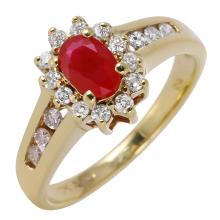 Diana Ruby and Diamond 10KT Yellow Gold Cluster Ring - #452