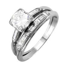 Vintage 1.24ctw Diamond Platinum Engagement Ring and Wedding Band Soldered Set - #1826