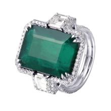 Incredible Custom Made 15.80ctw Emerald and Diamond 18KT White Gold Ring - #917