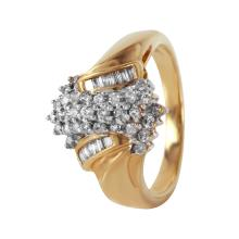 Dazzling Waterfall Diamond 10KT Yellow Gold Cluster Ring - #493A