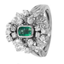 Royalty Emerald and Diamond 14KT White Gold Cluster Vintage Style Ring - #385