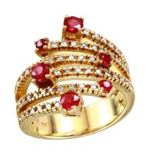 NEW 1.03ctw Ruby and Diamond 14KT Yellow Gold Six-Ray Bypass Ring - #2086-7