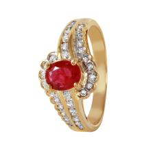 Helena 0.92ctw Ruby and Diamond 14KT Yellow Gold Swirl Ring - #465A