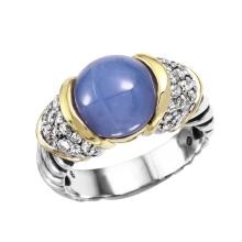 Designer David Yurman 4.39ctw Natural Blue Agate and Diamond 18KT Yellow Gold and Sterling Silver Ring - #1692
