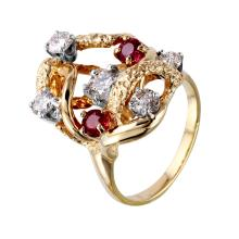 Free Form Artisan 1.57ctw Diamond and Ruby 14KT Yellow Gold Textured Ring - #921