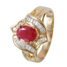 Glistening 1.50ctw Ruby and Diamond14KT Yellow Gold Vintage Style Cluster Ring - #1148