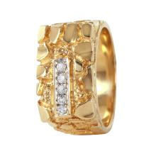 14KT Yellow Gold 0.15ctw Diamond Nugget Ring