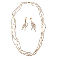 Graceful Multi Pearl 14KT Yellow Gold Matching Triple Strand Necklace and Dangle Earrings Set - #236