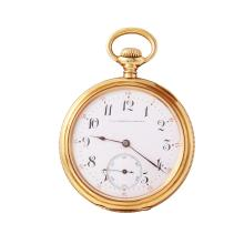 Gent's Vintage Style Heirloom Quality F.A. Robbins 14KT Yellow Gold Hinged Back Pocket Watch - #835