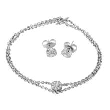 Memorable Matching Diamond 18KT White Gold Two-Strand Rolo Link Necklace and Earrings Set - #242