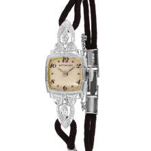 Beautiful Antique Authentic Designer Wittnauer 14KT White Gold Diamond  Silk Cord Watch - #1686
