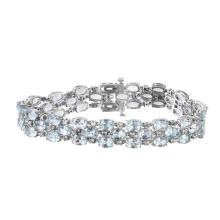 Georgeous Ladies Track Link Aquamarine and Diamond Bracelet - #207