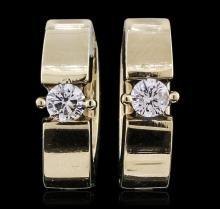 Stylish Diamond 14KT Yellow Gold Hinged Huggie Hoop Earrings - #1327