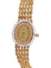 Ladies Authentic Designer Swiss Geneve 14KT Yellow Diamond Gold Rope Watch - #819