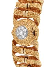 Ladies Sophisticated Authentic Designer Hamilton 14KT Yellow Gold  Diamond Covered Dial Watch - #823