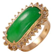 Rectangular 3.66ctw Jadeite and Diamond 18KT Yellow Gold Victorian Style Ring - #27