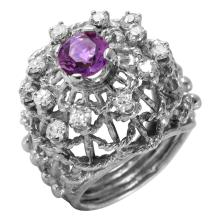10KT White Gold 1.75ctw Amethyst and Diamond Ring