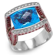 14KT White Gold 18.20ctw Topaz, Ruby and Diamond Ring