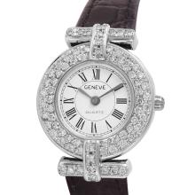 Geneve Ladies 18KT White Gold 0.89ctw Diamond Watch