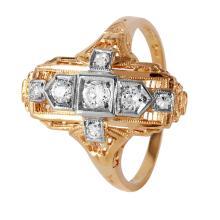 14-18KT Yellow Gold 0.28ctw Diamond Art Deco Ring