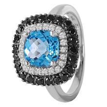 14KT White Gold 2.17ctw Topaz and Diamond Ring