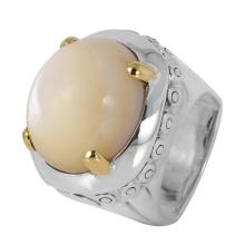 John Hardy Silver and 18KT Yellow Gold Moonstone Ring