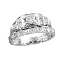 18KT White Gold 0.41ctw Diamond Art Deco Wedding Set