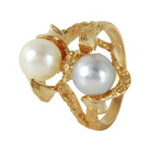 Flair Chinese Pearl 14KT Yellow Gold Textured Split Ring