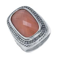 Genuine Authentic Designer David Yurman Sterling Silver Albion Rose Quartz and 1.00ctw Diamond Ring
