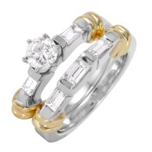 Gleaming 1.17ctw Diamond 14KT Two Tone Gold Engagement Ring and Wedding Band Set