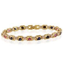 Contemporary Designer Fancan 5.35ctw Sapphire and Ruby 18KT Two Tone Gold Bracelet - #95