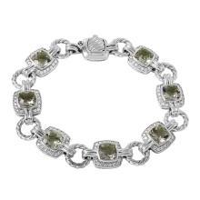 Genuine Authentic Designer David Yurman 12.84ctw Green Amethyst and Diamond Sterling Silver Bracelet - #203