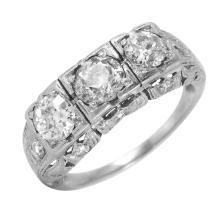 Art Deco Inspired Platinum 1.68ctw Diamond Miligrain Ring - #47