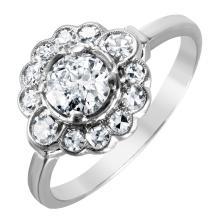 NEW Art Deco Diamond Platinum Floral Ring - #1000